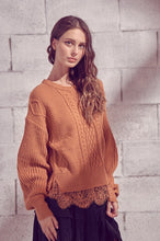 Load image into Gallery viewer, Lace trim Sweater