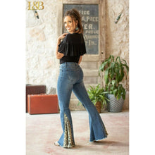 Load image into Gallery viewer, Leopard Flare Jeans