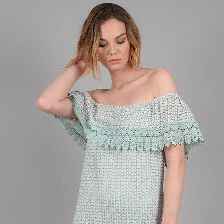 crochet off shoulder dress