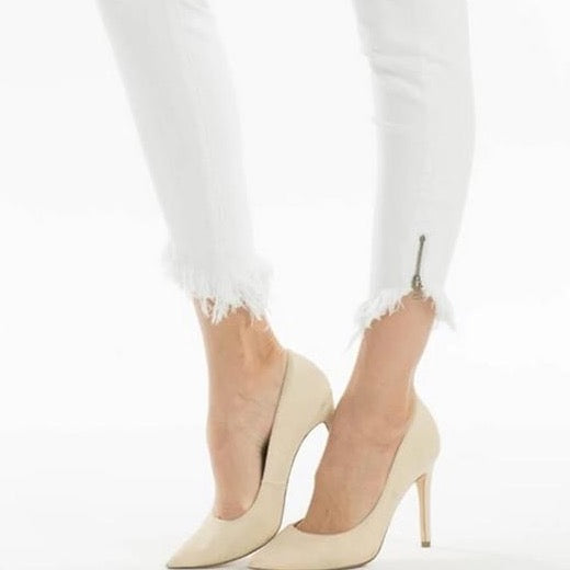 White Skinny Jean With Zipper Detail