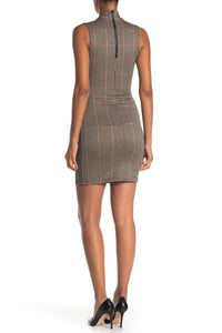 Mock Neck Plaid Dress