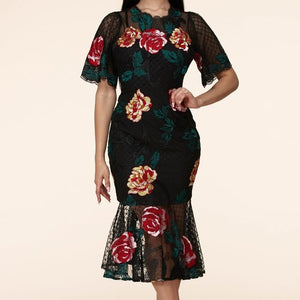 Lace Floral Embroidered Dress