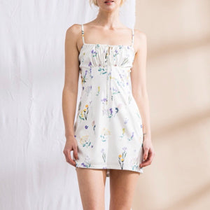 Off White Floral Print Mini Dress