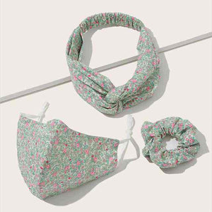 Pink and mint floral 3 piece mask and headband set