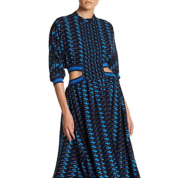 Patterned Pleated Midi Dress