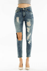Stonewashed Skinny Distressed Jean