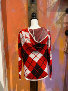 Red Plaid Hooded Sweater
