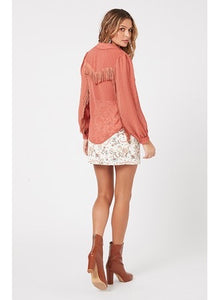 MinkPink Clay Carrington Fringe Top