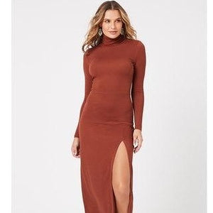 MinkPink Ara High Neck Midi Dress
