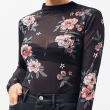 Load image into Gallery viewer, Midnight Flower Mesh Skivvy