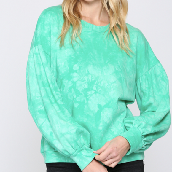Green French Terry Tie Dye Sweatshirt