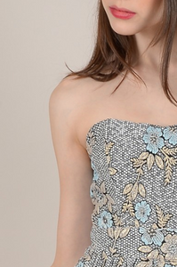 Shimmery Floral Strapless