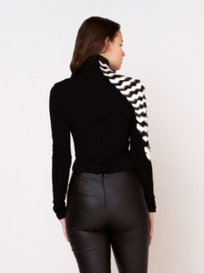 B/W Leather Sleeve Top