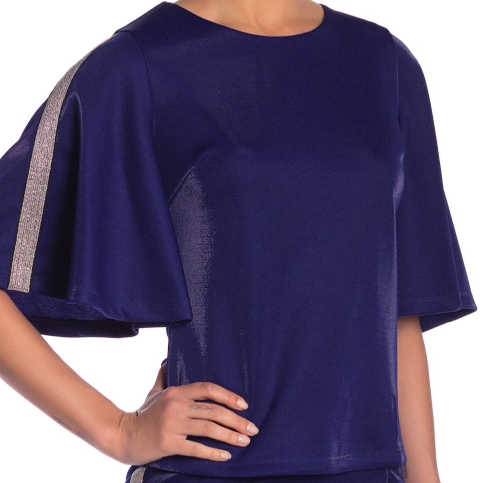 Blue Sparkle Bell Sleeve Top