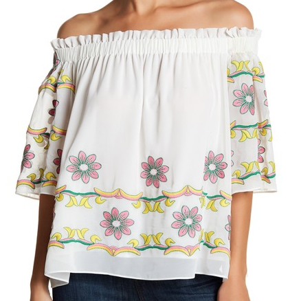 Flowers and Bananas Embroidered Top