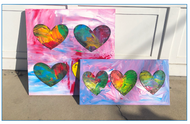 paint a collection of hearts inspired by american artist jim dine