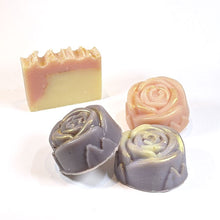 Load image into Gallery viewer, Rose and lavender scented rose-shaped soap