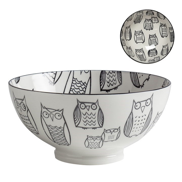 Kiri Porcelain Bowl Owl Outline, 3 sizes.