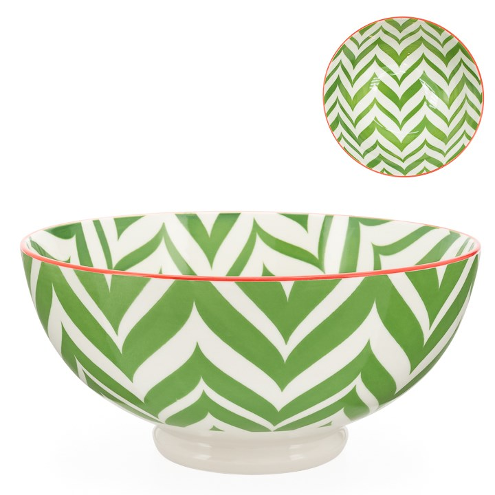 Kiri Porcelain Bowl Green Zig Zag, 3 Sizes