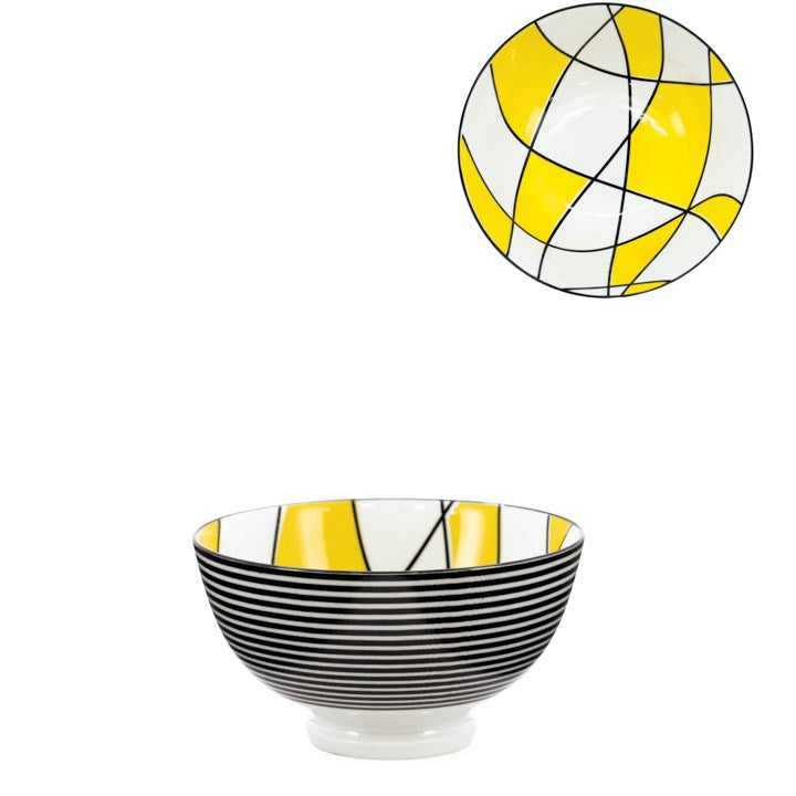 Kiri Porcelain Bowl Abstract Yellow, 3 Sizes.