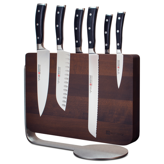 Wüsthof Classic Ikon 7 Piece Knife Block Set with Magnetic Thermo Wood Knife Stand