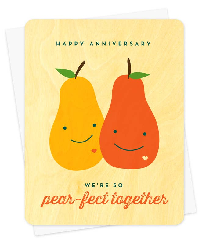 Pear-fect Anniversary Wood Card