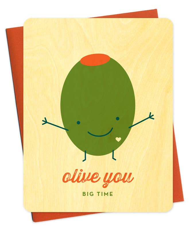 Olive You Wood Love Card