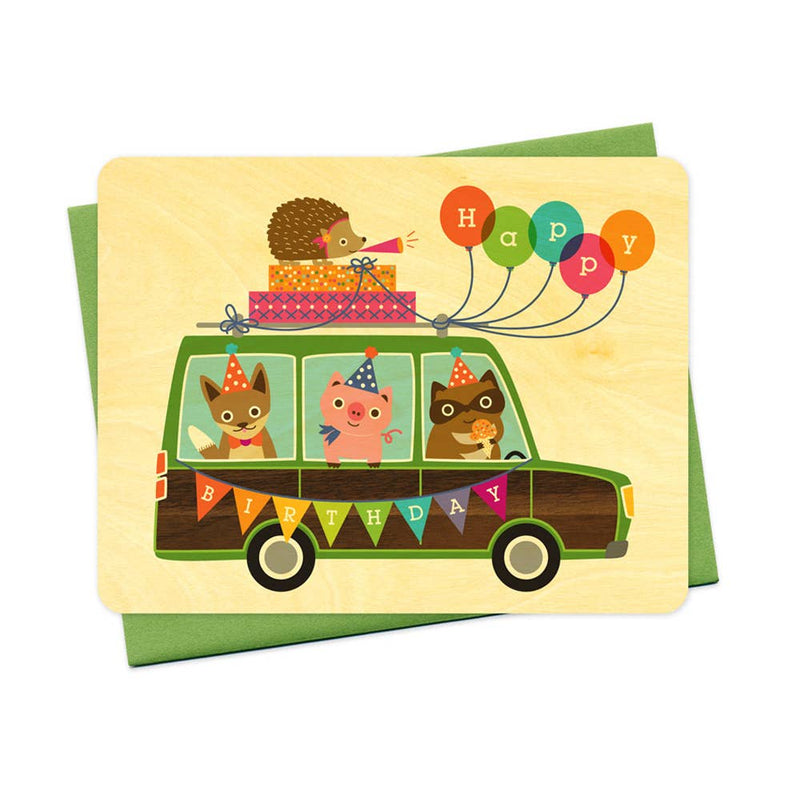 Party Wagon Wood Birthday Card