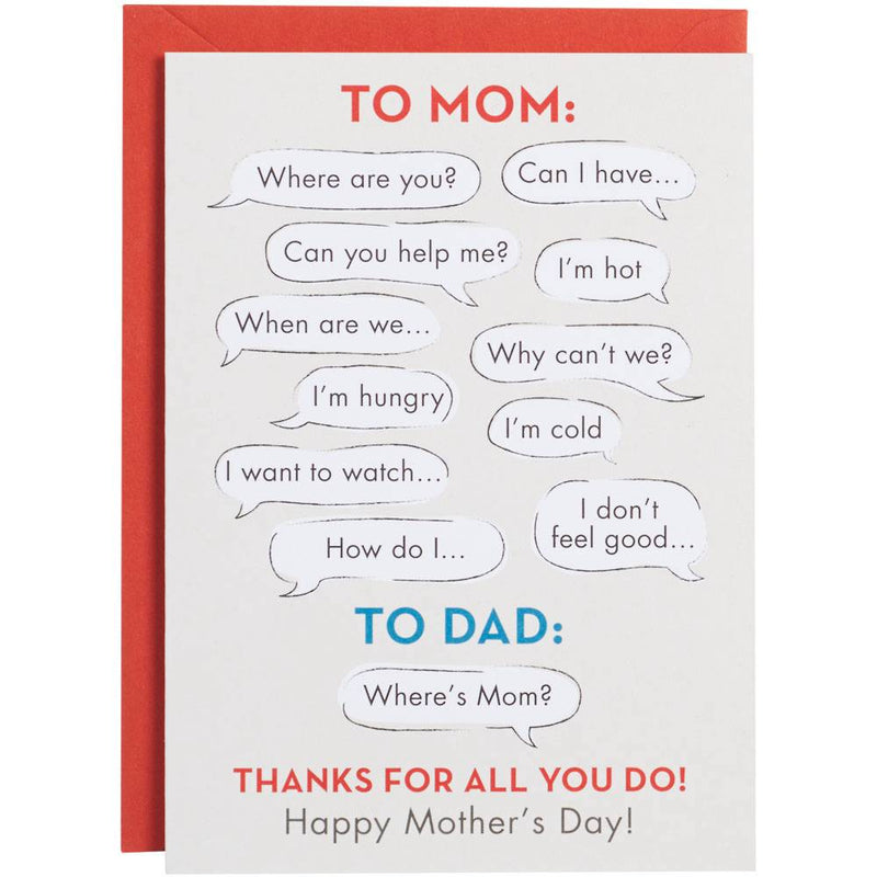 Mom vs. Dad Mother's Day Card