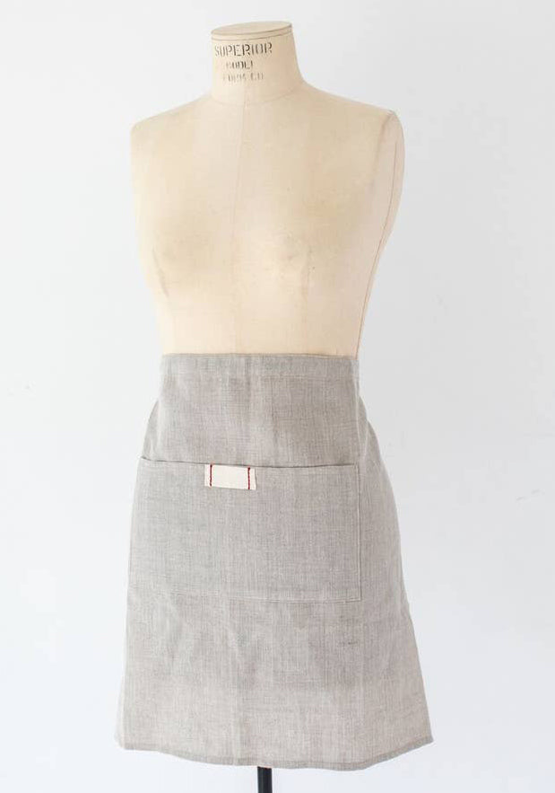 Heirloomed Linen Waist Apron with Pocket