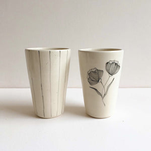Peony and Stripe Tumblers (Set of 2)