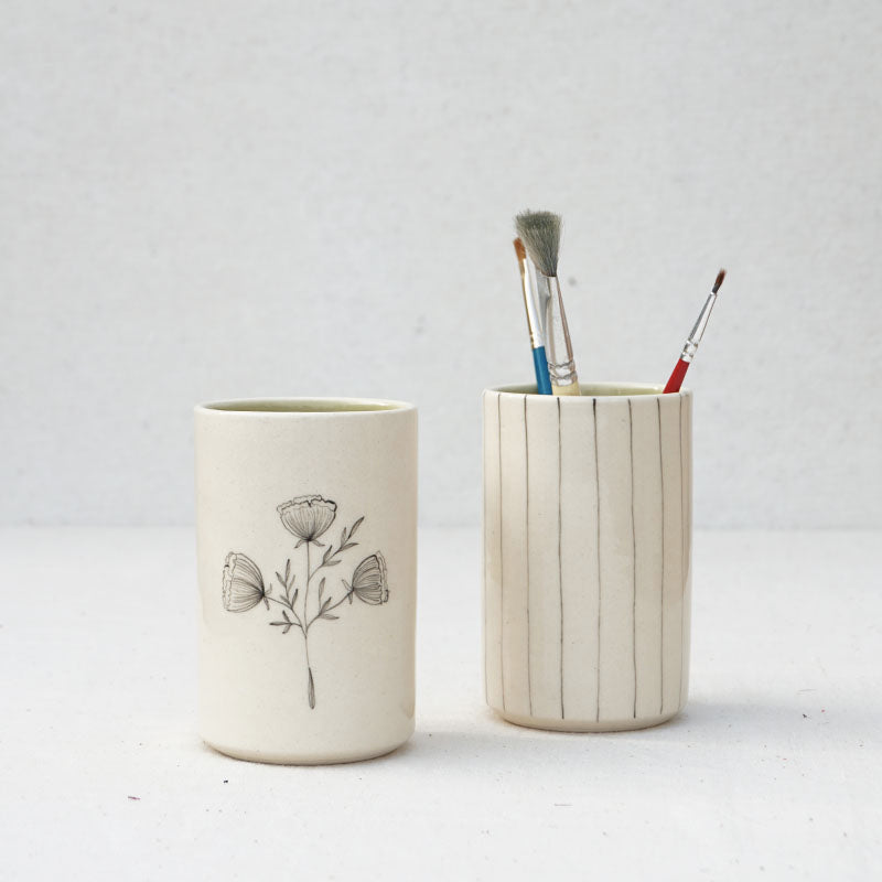 Carnations and Stripes Small Vase and Pen Stands ( Set of 2 )