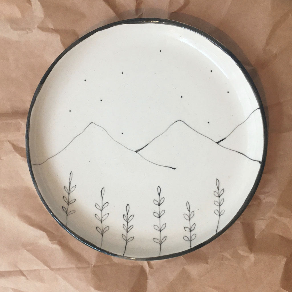 Hills and the wildflower Quarter Plate