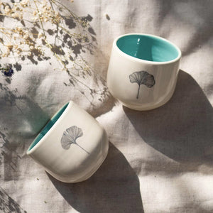 Gingko Herbal Teacups, Mint (Set of 2)