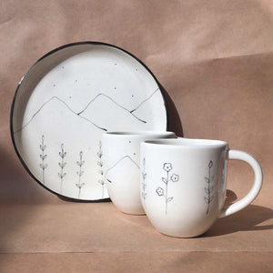 Hills and Wildflower Breakfast set ( 1 Quarter Plate, 2 Coffee Mugs)