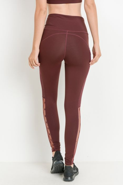 Star Mesh Leggings (Maroon)