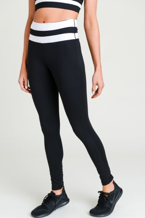 White Stripe Leggings (Black)