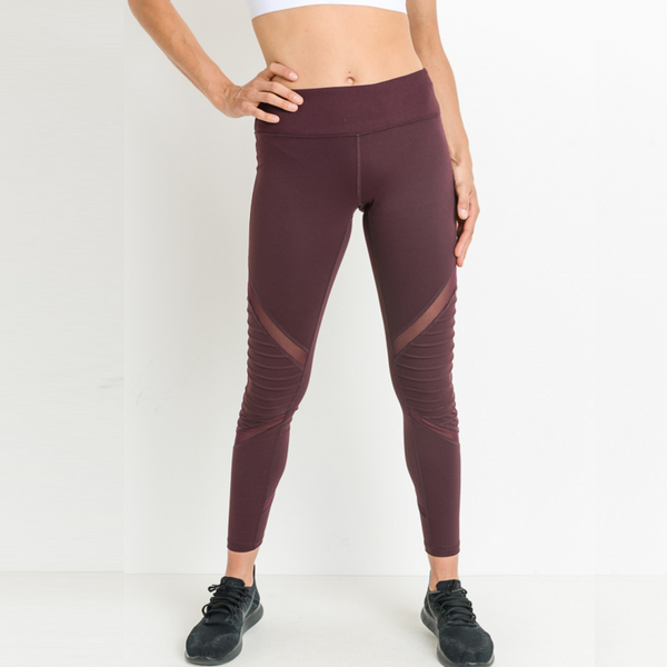 Moto-Mesh Burgundy Leggings