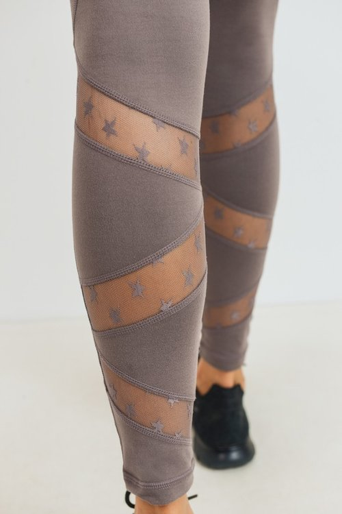 Star Mesh Leggings (Mocha)
