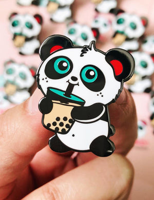 Boba Time Enamel Pin by Pandi the Panda