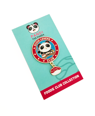 Sushi Lover's Club Enamel Pin by Pandi the Panda