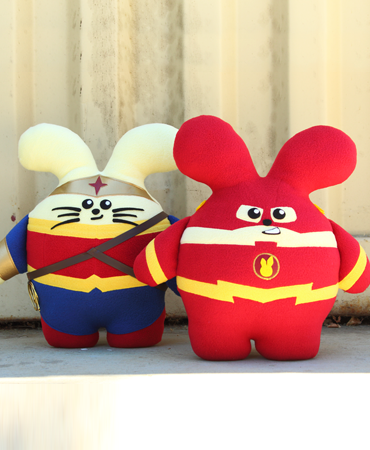 Set of Amazon Warrior and Speedster Babees Handmade Plush by Fat Rabbit Farm