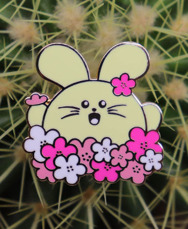 Cherry Blossom Babee Enamel Pin by Fat Rabbit Farm