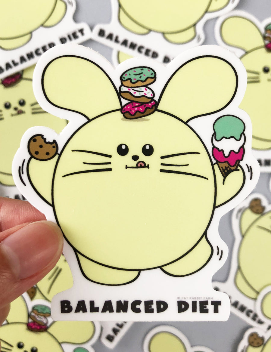 Balanced Diet Vinyl Sticker by Fat Rabbit Farm