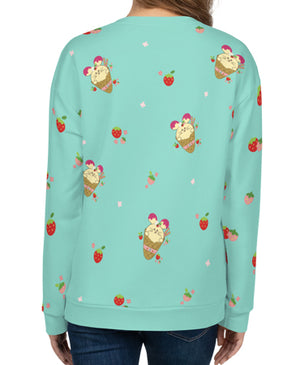 Strawberry Babee All-Over-Print Unisex Sweatshirt Mint Specialty Made to Order by Fat Rabbit Farm