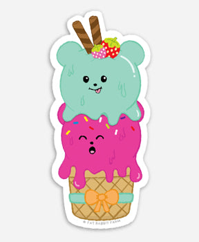 Double Scoops Sticker by Fat Rabbit Farm