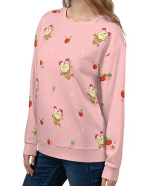 Strawberry Babee All-Over-Print Unisex Sweatshirt Blush Specialty Made to Order by Fat Rabbit Farm