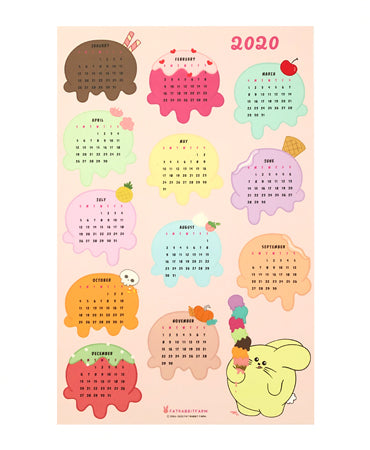 Scoops of Happiness 2020 Calendar by Fat Rabbit Farm