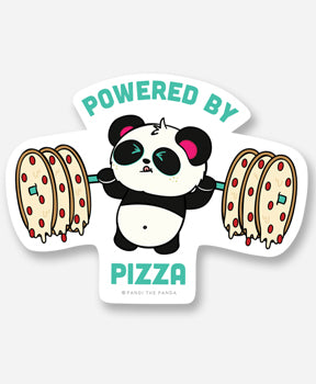 Powered By Pizza Vinyl Sticker by Pandi the Panda