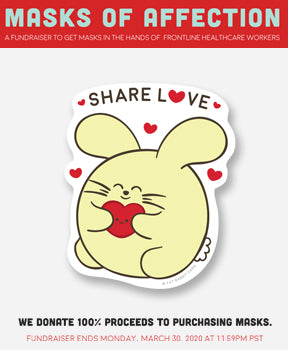 Masks of Affection Share Love Vinyl Sticker Pack (4) by Fat Rabbit Farm